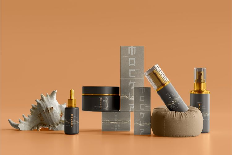 Assortment of skin care products that will be given to a client as a corporate gift